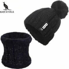 San Vitale Muts met Col / Sjaal Zwart. Beanie Muts Gebreide Baggy Warme Muts Bonnet Wintermuts Gevoerd Wol Trendy