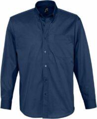 Marineblauwe SOLS Heren Bel-Air Lange Mouw Twill Work Shirt (Franse marine)