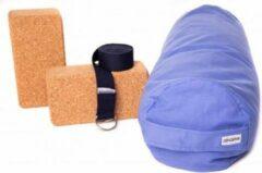 Lichtblauwe Zenzes PRO bolster met yogariem en 2 yogablokken - licht blauw