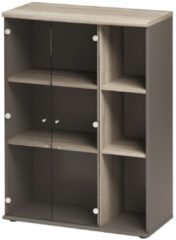 Gamillo Furniture Vitrinekast Jazz van 114 cm hoog in grijs eiken met grijs