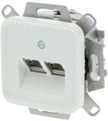 Witte Busch-Jaeger Reflex Telefoon/Data Wandcontactdoos - Inbouw - Cat5 - 2 x 8-polig - Polarwit