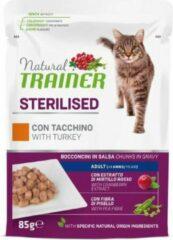 Natural trainer cat sterilised turkey pouch kattenvoer 12x85 gr