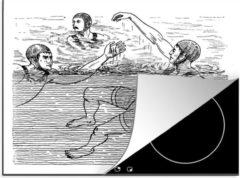KitchenYeah Luxe inductie beschermer Zwemmen illustratie - 60x52 cm - Een antieke illustratie van een potje waterpolo - afdekplaat voor kookplaat - 3mm dik inductie bescherming - inductiebeschermer