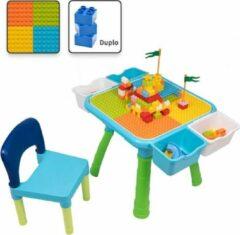 Decopatent® - Kindertafel met 1 Stoeltje - Speeltafel met bouwplaat en Tafel kant - 4 Bakjes - Geschikt voor Duplo® Bouwstenen