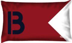 Rode Velits outdoor Buitenkussen Seinvlag letter B waterafstotend bootkussen 40x60cm.