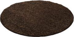 Impression Shaggy Hoogpolig Rond vloerkleed Donker Bruin Effen Tapijt Carpet - 200 x 200 cm