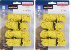 Redcliffs 8x Gele scheerlijnen / touwen - Met gatspanners - glow in the dark - 4 mm x 4 meter - Tent scheerlijn - Tuin/camping benodigheden