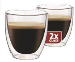 Transparante Maxxo Kleine Espressoglazen - dubbelwandig - set van 2