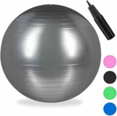 Relaxdays 1x fitnessbal 85 cm - gymbal - zitbal - yogabal pilatesbal - kantoor - zilver