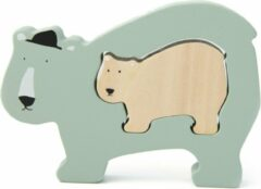 Groene Trixie houten baby puzzel   Mr. Polar Bear   Baby Puzzle   Speelgoed