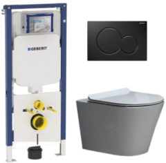 Douche Concurrent Geberit UP720 Toiletset - Inbouw WC Hangtoilet Wandcloset Rimfree - Saturna Flatline Sigma-01 Zwart