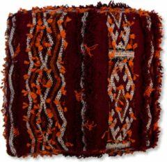 Bordeauxrode Poufs&Pillows Marokkaanse kelim poef - Bohemian vloerkussen - handgeweven uit natuurlijke materialen - ongevuld K245