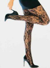 Sarlini Classic Elegance zwarte kanten panty - XXL - Zwart