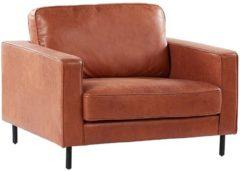 Beliani Fauteuil leather-look goudbruin SAVALEN