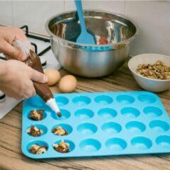 Doodadeals® Siliconen Muffinvorm - Siliconen Bakvorm - Muffin Bakvorm Siliconen – Siliconen Cupcake Vormpjes - Muffin Bakblik – Muffin Bakplaat – 24 Vormpjes – Blauw