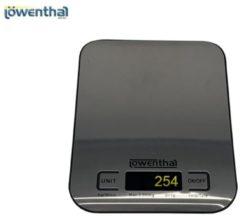 Zwarte Lowenthal digitale keukenweegschaal - 13,5 x 13,5 cm - tot 5KG wegen