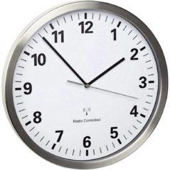TFA Dostmann 60.3523.02 Wandklok Zendergestuurd 30.5 cm x 4.3 cm RVS Slepend uurwerk (geluidsloos), Energiebesparingsfunctie