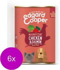 Edgard & Cooper Kip & Zalm Blik - Voor senior honden - Hondenvoer - 6 x 400g