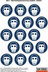 Blauwe Moire BV Pictogram sticker 75 stuks M017 - Ademhalingsbescherming verplicht - 50 x 50mm - 15 stickers op 1 vel