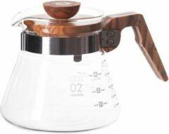 Transparante Hario V60 Coffee Server 600 Glas met Olijfhout - 600ml