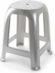 Forte Plastics Zilver krukje/keukenkrukje/opstapje 46,5 cm - Keuken/badkamer krukjes/zitjes