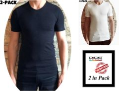 Witte DICE Underwear DICE 2-pack heren T-shirt V-hals wit+zwart in maat XL