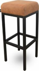 Bruine Damiware Barkruk Lederlook Bruce - Product Kleur: Cognac / Product Zithoogte: 75 CM