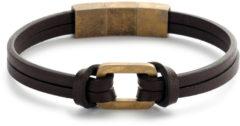 Donkerbruine Frank 1967 Leather 7FB 0440 leren armband met goudkleurig stalen element - 21 cm - donker bruin