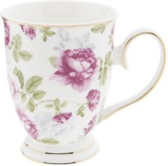 Roze Clayre & Eef - mok - 12*8.5*11 cm / 0.3l - meerkleurig - porselein - rond - bloemen - 6CE0882