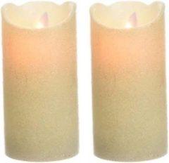 Beige Merkloos / Sans marque 2x LED kaarsen/stompkaarsen parelmoer 15 cm flakkerend