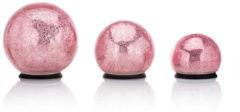 Rosa Lumesso 3 LED-Outdoor-Glaskugeln Crackle-Optik
