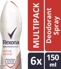Rexona Woman Active Shield Protection Deodorant Spray - 6 x 150 ml - Voordeelverpakking