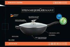 SteinMeijerGermany Marble Coating Wok pan - met glazen deksel - Zwart - 32 cm vok pan- inductie