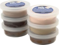 Creativ company Silk Clay - Klei - Set met 6 Bruintinten