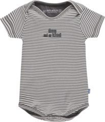 Grijze Imps & Elfs Imps&elfs Rompertje Joy Stripe - stone grey / off white - Maat 74