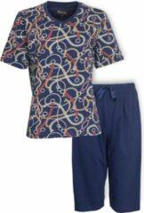 Medaillon Dames Pyjama Drie Kwart Broek Blauw MEPYD1002A Maten: 3XL