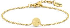 CO88 Collection Alphabet 8CB 90623 Stalen schakel armband - 1,5 mm - bedel rond met letter I- 7mm - 19,5 cm - goudkleurig