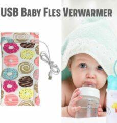 Allernieuwste USB Baby Fles Warmer model Donuts - Heater - Reisaccessoire - Draagbaar - Klittenband - Kleur