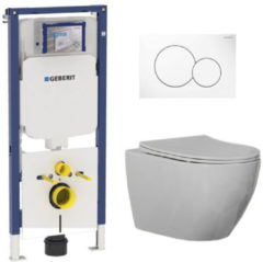 Douche Concurrent Geberit UP720 Toiletset - Inbouw WC Hangtoilet Wandcloset Rimfree - Beauti Flatline Sigma-01 Wit