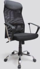 Domo Meubelen Bureaustoel voor volwassenen - Modern met chrome onderstel - Met vaste armen - In hoogte verstelbaar - Zwart