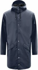 Donkerblauwe Rains Long Jacket Regenjas Unisex - Maat XS/S