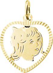 Goudkleurige The Jewelry Collection Bedel Meisje Hart Gediamanteerd - Geelgoud
