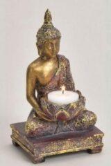 Goudkleurige Merkloos / Sans marque Goud boeddha beeldje met waxine/theelicht houder 18 cm - Woondecoratie - Kaarsenhouder