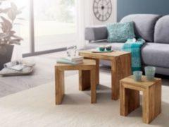 Wohnling WOHNLING 3er Set Satztisch MUMBAI Massiv-Holz Akazie Wohnzimmer-Tisch Landhaus-Stil Beistelltisch dunkel-braun Naturholz