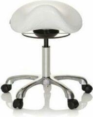 Hjh OFFICE Ortho SIT - Werkstoel / werkkruk/ verhoogde bureaustoel - Wit - Kunstleder