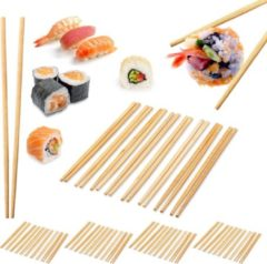 Naturelkleurige Relaxdays 50 paar bamboe eetstokjes - chopsticks - 24 cm lang - eet stokjes – bruin