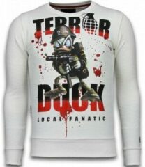 Local Fanatic Terror Duck - Rhinestone Sweater - Wit Sweaters / Crewnecks Heren Sweater Maat XL