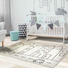 Bruine Sens Kids Rugs Huisjes kindervloerkleed - kindertapijt - 100 x 140 cm - wasbaar - zacht - duurzame kwaliteit - speelgoed