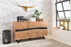 Wohnling Sideboard SATARA 148 x 85 x 43 cm Massiv-Holz Akazie Natur Baumkante Anrichte Landhaus-Stil Highboard mit 3 Türen Flur Schrank Kommode