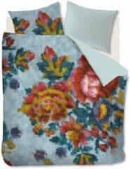 Lichtblauwe Oilily Floral Mosaic dekbedovertrekset van katoensatijn - inclusief kussenslopen